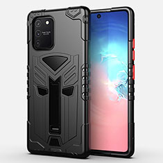 Silicone Matte Finish and Plastic Back Cover Case with Stand A01 for Samsung Galaxy S10 Lite Black