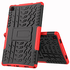 Silicone Matte Finish and Plastic Back Cover Case with Stand A01 for Samsung Galaxy Tab A7 Wi-Fi 10.4 SM-T500 Red