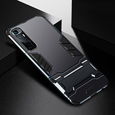 Silicone Matte Finish and Plastic Back Cover Case with Stand A01 for Xiaomi Mi 10 Ultra Black