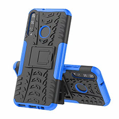 Silicone Matte Finish and Plastic Back Cover Case with Stand A02 for Huawei P40 Lite E Blue