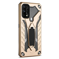 Silicone Matte Finish and Plastic Back Cover Case with Stand A02 for Realme 7 Pro Gold