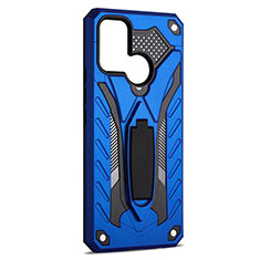 Silicone Matte Finish and Plastic Back Cover Case with Stand A02 for Realme 7i Blue