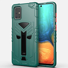 Silicone Matte Finish and Plastic Back Cover Case with Stand A02 for Samsung Galaxy A71 5G Green