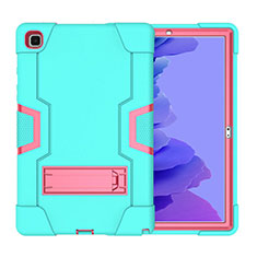 Silicone Matte Finish and Plastic Back Cover Case with Stand A02 for Samsung Galaxy Tab A7 Wi-Fi 10.4 SM-T500 Cyan