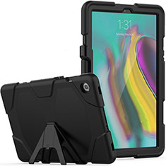 Silicone Matte Finish and Plastic Back Cover Case with Stand A02 for Samsung Galaxy Tab S5e 4G 10.5 SM-T725 Black