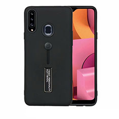 Silicone Matte Finish and Plastic Back Cover Case with Stand A03 for Samsung Galaxy A20s Black
