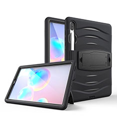 Silicone Matte Finish and Plastic Back Cover Case with Stand A03 for Samsung Galaxy Tab S6 10.5 SM-T860 Black