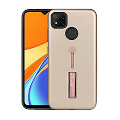 Silicone Matte Finish and Plastic Back Cover Case with Stand A03 for Xiaomi Redmi 9C NFC Gold