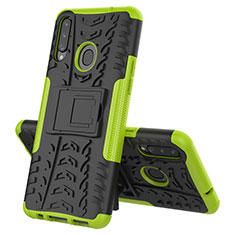 Silicone Matte Finish and Plastic Back Cover Case with Stand A04 for Samsung Galaxy A20s Green