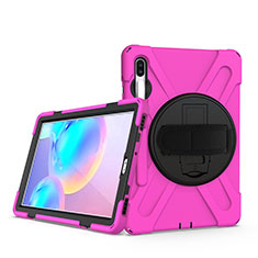 Silicone Matte Finish and Plastic Back Cover Case with Stand A04 for Samsung Galaxy Tab S6 10.5 SM-T860 Hot Pink