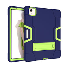 Silicone Matte Finish and Plastic Back Cover Case with Stand for Apple iPad Air 4 10.9 (2020) Green