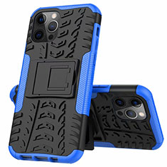 Silicone Matte Finish and Plastic Back Cover Case with Stand for Apple iPhone 12 Pro Max Blue