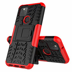 Silicone Matte Finish and Plastic Back Cover Case with Stand for Google Pixel 5 Red