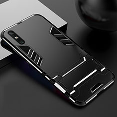 Silicone Matte Finish and Plastic Back Cover Case with Stand for Huawei Enjoy 10e Black