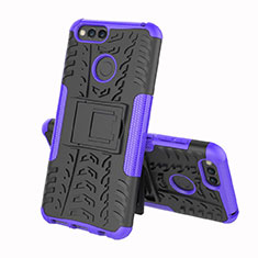 Silicone Matte Finish and Plastic Back Cover Case with Stand for Huawei Enjoy 8e Purple