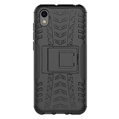 Silicone Matte Finish and Plastic Back Cover Case with Stand for Huawei Enjoy 8S Black