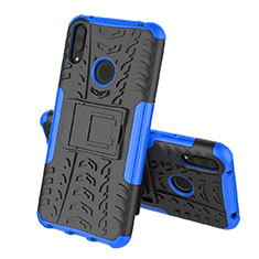 Silicone Matte Finish and Plastic Back Cover Case with Stand for Huawei Enjoy 9 Blue