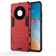 Silicone Matte Finish and Plastic Back Cover Case with Stand for Huawei Mate 40 Red