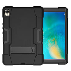 Silicone Matte Finish and Plastic Back Cover Case with Stand for Huawei MatePad 10.8 Black