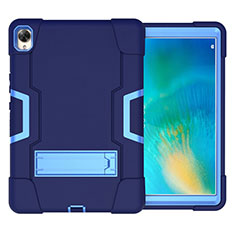Silicone Matte Finish and Plastic Back Cover Case with Stand for Huawei MatePad 10.8 Blue