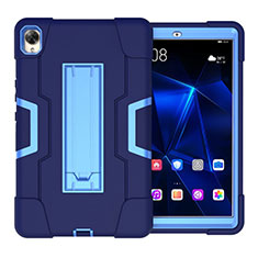 Silicone Matte Finish and Plastic Back Cover Case with Stand for Huawei MediaPad M6 10.8 Blue