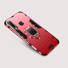 Silicone Matte Finish and Plastic Back Cover Case with Stand for Huawei Nova 4e Red