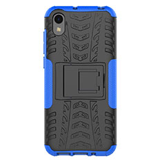 Silicone Matte Finish and Plastic Back Cover Case with Stand for Huawei Y5 (2019) Blue
