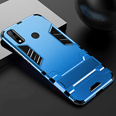 Silicone Matte Finish and Plastic Back Cover Case with Stand for Huawei Y8s Blue