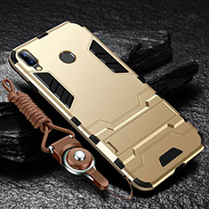 Silicone Matte Finish and Plastic Back Cover Case with Stand for Huawei Y9 (2019) Gold