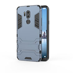 Silicone Matte Finish and Plastic Back Cover Case with Stand for LG G7 Blue