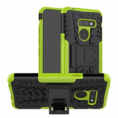 Silicone Matte Finish and Plastic Back Cover Case with Stand for LG G8 ThinQ Green