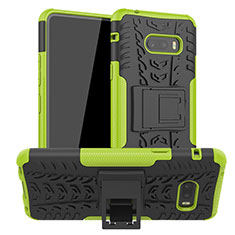 Silicone Matte Finish and Plastic Back Cover Case with Stand for LG G8X ThinQ Green