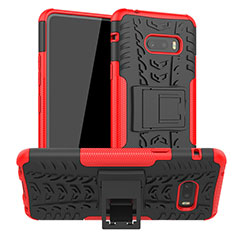 Silicone Matte Finish and Plastic Back Cover Case with Stand for LG G8X ThinQ Red