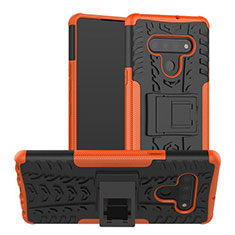 Silicone Matte Finish and Plastic Back Cover Case with Stand for LG Stylo 6 Orange