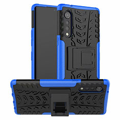 Silicone Matte Finish and Plastic Back Cover Case with Stand for LG Velvet 5G Blue