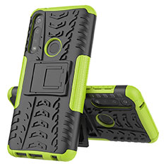 Silicone Matte Finish and Plastic Back Cover Case with Stand for Motorola Moto G Power Green