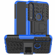 Silicone Matte Finish and Plastic Back Cover Case with Stand for Motorola Moto G8 Plus Blue