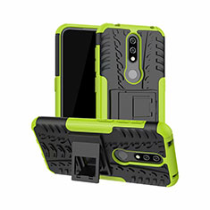 Silicone Matte Finish and Plastic Back Cover Case with Stand for Nokia 4.2 Green