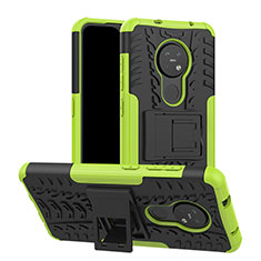 Silicone Matte Finish and Plastic Back Cover Case with Stand for Nokia 7.2 Green