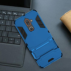 Silicone Matte Finish and Plastic Back Cover Case with Stand for Nokia 7 Plus Blue