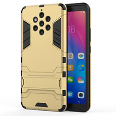 Silicone Matte Finish and Plastic Back Cover Case with Stand for Nokia 9 PureView Gold