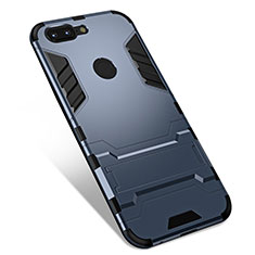 Silicone Matte Finish and Plastic Back Cover Case with Stand for OnePlus 5T A5010 Gray