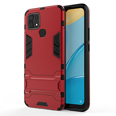 Silicone Matte Finish and Plastic Back Cover Case with Stand for Oppo A15 Red