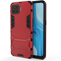 Silicone Matte Finish and Plastic Back Cover Case with Stand for Oppo Reno4 F Red