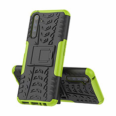 Silicone Matte Finish and Plastic Back Cover Case with Stand for Realme 6 Pro Green