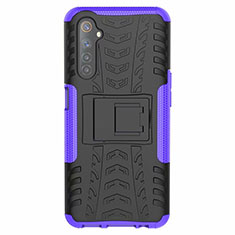 Silicone Matte Finish and Plastic Back Cover Case with Stand for Realme 6 Purple
