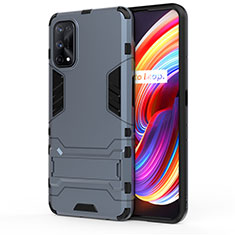 Silicone Matte Finish and Plastic Back Cover Case with Stand for Realme 7 Pro Blue