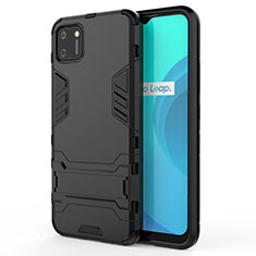 Silicone Matte Finish and Plastic Back Cover Case with Stand for Realme C11 Black