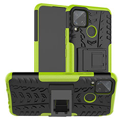 Silicone Matte Finish and Plastic Back Cover Case with Stand for Realme C15 Green
