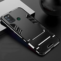 Silicone Matte Finish and Plastic Back Cover Case with Stand for Realme C17 Black